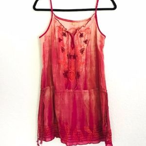 Free People | Pink & Orange Embroidered Tunic Top